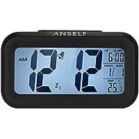 Andoer - Reloj despertador digital de LED, botón de repetición, sensor activado por luz para retroiluminar la visualización de la temperatura y la fecha, color azul