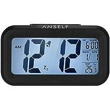 Anself LED Digital Alarma despertador Reloj Repetición activada por luz Snooze Sensor de luz Tiempo Fecha Temperatura (negro)