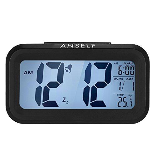 Anself LED Digital Wecker Reisewecker Watch Wiederholung Snooze Licht Aktivierten Sensor Hintergrundbeleuchtung Zeit Datum Temperaturanzeige (Weiß)