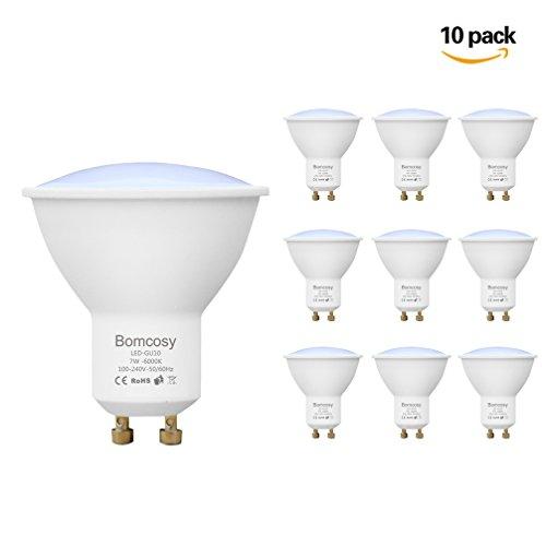 Leuchtmittel Charme (Bomcosy GU10 7W LED Lampen, Eentspricht 60 W Halogen Leuchtmittel, Kaltweiß 6000K, 600 LM, 150 Grad Winkel Leuchten, 100-240 Volt, Nicht Dimmbar, 10er Pack)