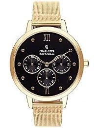 Reloj mujer Charlotte rafaelli de cuarzo reloj negro 36 mm y pulsera dorado malla crb023