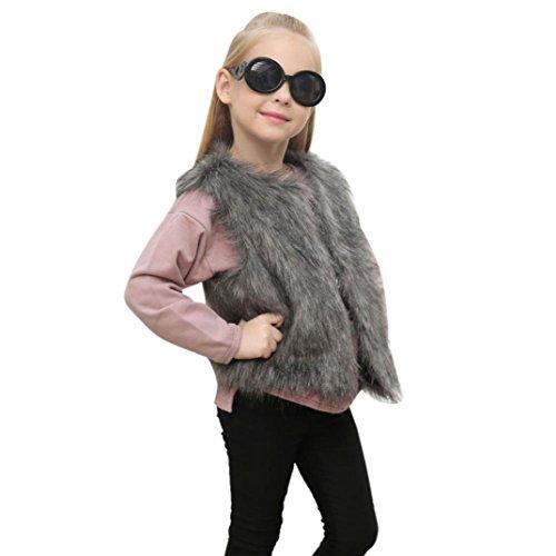 HUHU833 Baby Mantel, Mädchen Kinder Herbst Winter Faux Pelz Weste starker Mantel warme Outwear Kleidung (3-8Jahre) (S-90CM, Grau)