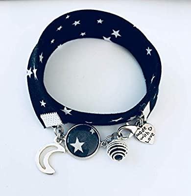 Bracelet Liberty à parfumer noir et blanc étoile avec pendentif lune, bijou Liberty, idée cadeau, bracelet parfum, bijou, bracelet étoile, bijoux cadeaux, cadeau femme