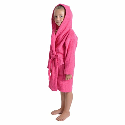 K Collection Albornoz con Capucha para niños y niñas, 100% Transpirable, de algodón Peinado, Toalla...
