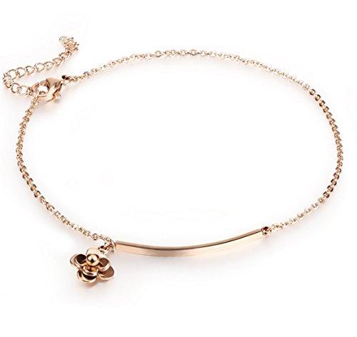 Fengteng Cartes Titanium Acier Filles Bracelets de Cheville Camellia Strip or Rose...