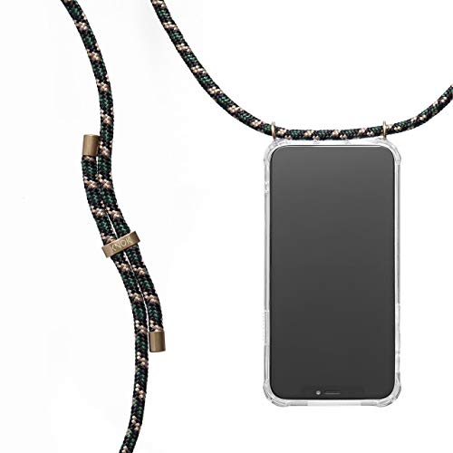 KNOK Case Handykette Kompatibel mit iPhone X/XS - Handy Hülle mit Kordel zum Umhängen - Phone Necklace in Camo Green