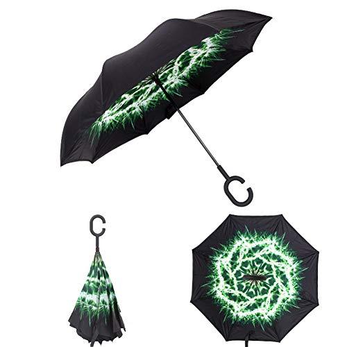 YINGZU Doppelschicht-Umkehrregenschirme Winddichter Umkehrregenschirm mit C-förmigem Gummigriff UV-Schutz Regenfest für den Einsatz im Freien (mehrere Farben erhältlich),Dandelion -