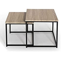 IDMarket - Lot de 2 Tables Basses gigognes Detroit Design Industriel