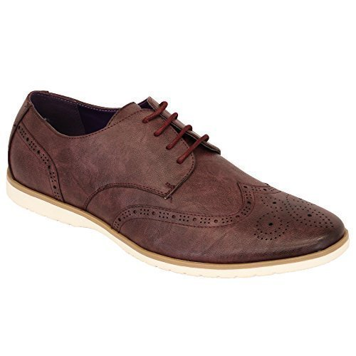 Hommes Allure Cuir Brogue À Lacets Pointus Habillé Chaussures Italiennes By Belide Bordeaux - M019