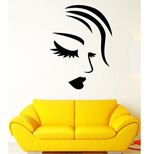 Hwhz 58 X 68 Cm Kunst Malerei Wandaufkleber Vinyl Wandtattoo Mädchen Gesicht Sexy Lippen Wimpern Fashion Make-Up Aufkleber