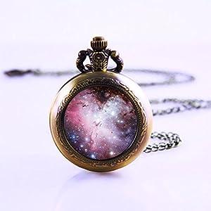 Magenta Nebel Galaxy Halskette Taschenuhr Halskette–Platz Schmuck Halskette–Universe Geschenke für Frauen und Mädchen Taschenuhr Halskette,