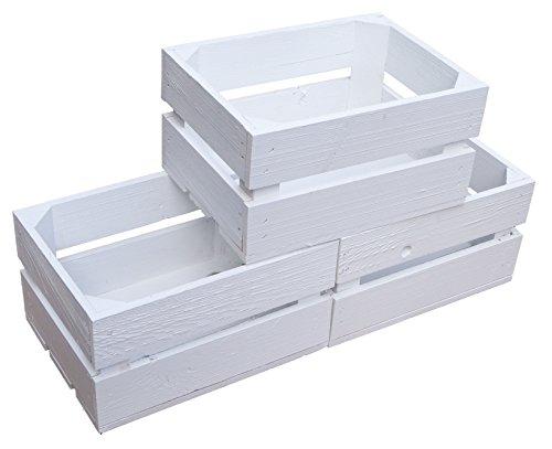 Kistenkolli Altes Land kleine geflammte Kiste Frieda Maße ca 30x22x16cm Weinkiste Aufbewahrungskiste Geschenkekiste Ablageregal (3er Set Frieda weiß)