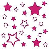 kleb-Drauf® | 25 Sterne | Grau - matt | Wandtattoo Wandaufkleber Wandsticker Aufkleber Sticker | Wohnzimmer Schlafzimmer Kinderzimmer Küche Bad | Deko Wände Glas Fenster Tür Fliese