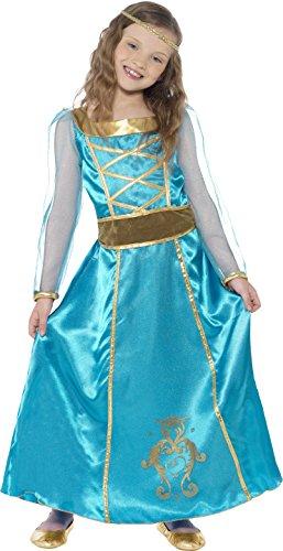 Smiffys, Kinder Mädchen Mittelalterliche Magd Kostüm, Kleid, Kopfband und angenähter Gürtel, Größe: S, 44105
