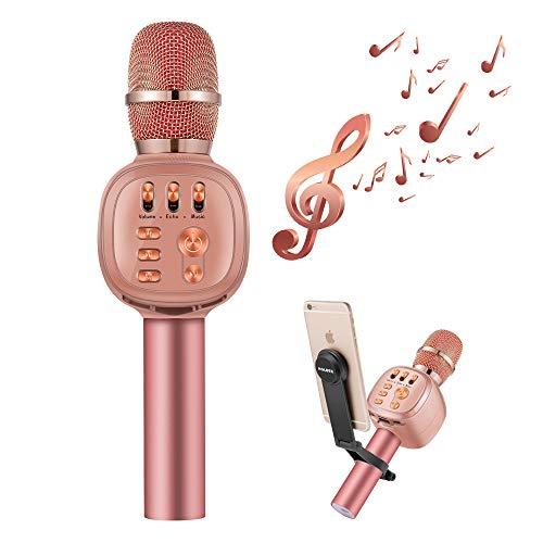 Beschoi Karaoke Micro sans Fil 4 en 1 Microphone Bluetooth 4.2 LED Lumière Disco avec Support Telephone Compatible avec Apple/Android/Smartphone/PC/iphone/iPad pour Adult et Enfant Or Rose