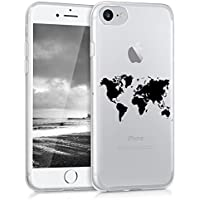 kwmobile Hülle für Apple iPhone 7 / 8 - TPU Silikon Backcover Case Handy Schutzhülle - Cover klar Weltkarte Umriss Design Schwarz Transparent