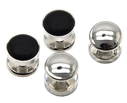 Runde Achat-Manschettenknöpfe von Okones, 4 Stück, Manschettenknöpfe für Smoking-Hemden und französische Kleidung, schwarz