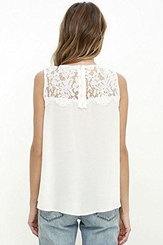 Ai.Moichien Chemise manches courtes en mousseline de soie sans manches en mousseline de soie Blanc