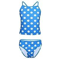 YiZYiF Blue Kids Girls Two Piece Spaghetti Polka Dots Tankini Swimsuit with Shorts, Blue, 5-6 Years