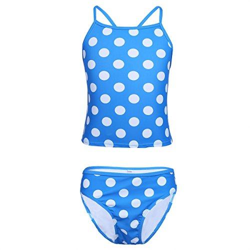Freebily gepunkteter Mädchen Tankini Bademode Zweiteiler Schwimmanzug Badeanzug Strandmode in Größe 116-176 Blau Gepunktet 176/16 Jahre