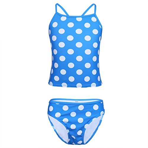 Tiaobug Tiaobug Mädchen Badeanzug Bikini Set 2-Teilig Kinder Bademode 116 128 140 152 164 176 Blau 122-128 (Mädchen Bikini 2-teiliges)