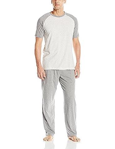 Hanes Men's Adult X-Temp Short Sleeve Tagless Cotton Raglan Shirt and Pants Pajamas Pjs Sleepwear Lounge Set - Grey (X-Large)