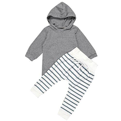 sunnymi Grau★Mädchen Junge Mit Kapuze Oberseiten T-Shirt + Streifen Hose Kleidung Spielanzug Set★2-teilig Newborn Baby Geschenk Bekleidungsset Outfits (3 Monate)