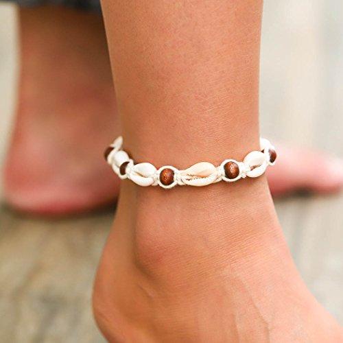 Simsly JL-045 Cavigliera di conchiglie e perline intrecciate con la corda, regolabile, per donne e ragazze