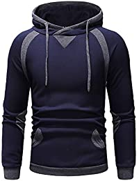 Kinlene Hombres Otoño Invierno Pullover Top Patchwork Sudadera Outwear Blusa