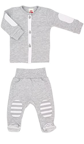 Baby-Mode Jungen Erstausstattung 2tlg. Jacke & Hose mit Fuß -Kollektion My Bear- (56 - 68) (56)
