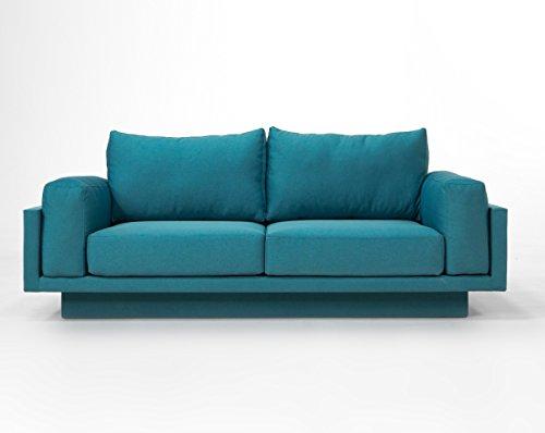 Cloud-B Schlafsofa Day-Bed Verwandlungssofa, Querschläfer - 214cm breit, Webstoff Türkis - einfach Kissen umstecken
