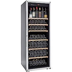FranceCave - Cave à vin de vieillissement - Fabrication française - Grande capacité 213 bouteilles - 6 clayettes - Cave silencieuse : 37 dB(A)- Cave noire porte vitrée - 1 température