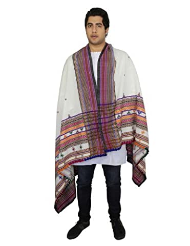 Warm Woolen Shawl Wrap for Men Embroidered Handcrafted in India