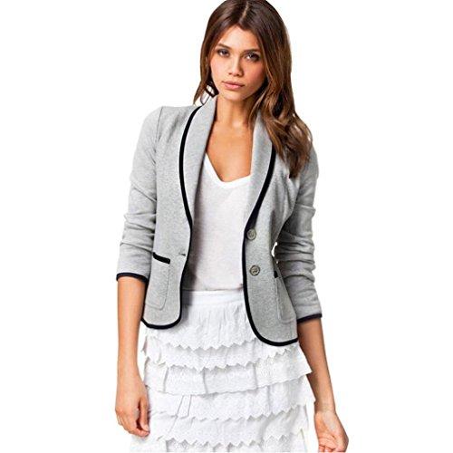 SEWORLD 2018 Damen Mode Sommer Herbst Elegant Schal Business Mantel Blazer Anzug Langarm Tops Dünne Jacke Outwear Größe S-6XL(Grau,EU-34/CN-S)