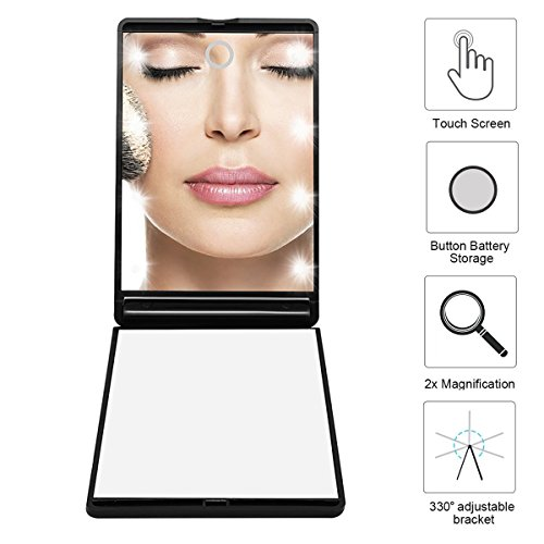LED Make up Spiegel Dproptel Doppelseitiger Schminkspiegel Beleuchteter Handspiegel Tragbarer Taschenspiegel 2-fach Vergrößerung für Reise - Geschenkboxen Beleuchtete Weihnachten