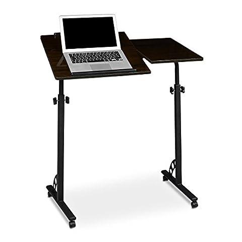 Relaxdays Laptoptisch groß höhenverstellbar H x B x T: 110 x 80 x 50 cm Mobiles Rednerpult mit Rollen zum Bremsen für Notebook mit Ablage für Beamer, große Laptops, Mäuse etc, Ebenholz (schwarz)