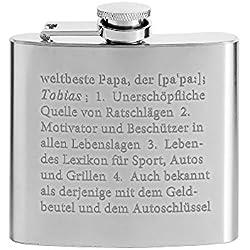AMAVEL Flachmann mit hochwertiger Gravur — Lexikondefinition Papa – Personalisiert mit [Namen] – Geschenkidee zum Vatertag – Geschenke für Männer – Füllmenge: ca. 150 ml