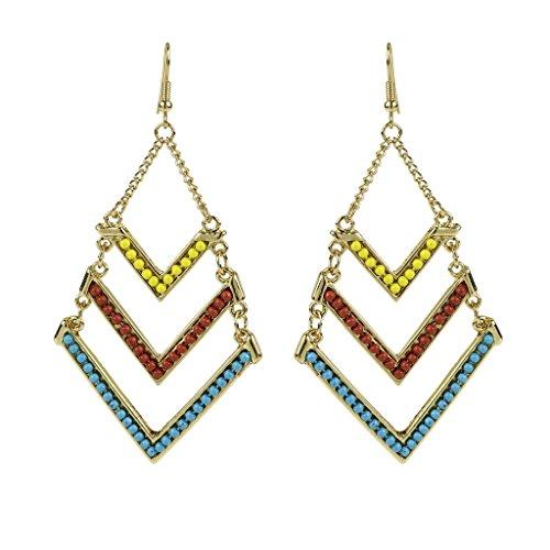 Lux accessori giallo turchese rosso V tribale orecchini Statement