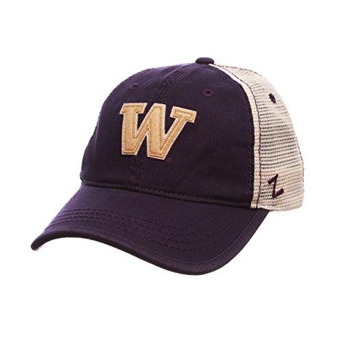 Zephyr Summertime Trucker Mesh Snapback Cap-NCAA Gebogen Bill, Eine Größe Verstellbar Baseball Hat, Washington Huskies - Dark Purple -