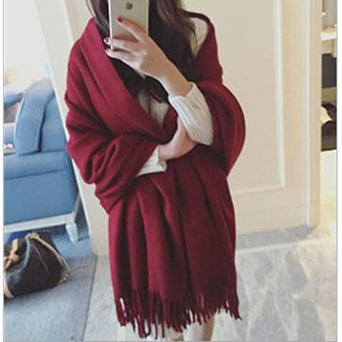MEICHEN-frange cashmere solido scialle sovradimensionato autunno/inverno caldo sciarpa spessa donne,vino rosso