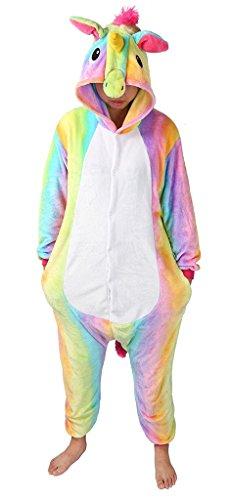 Erwachsene Bequeme Einhorn Nachtwäsche Tier Pyjamas Halloween Kostüm (Braut Von Chucky-maske)