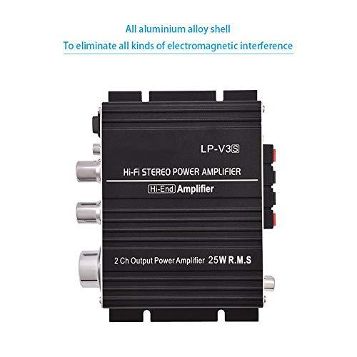 Zerone Mini 2 canaux HiFi Audio Stéréo amplificateur de puissance 25 W + 25 W Intérieur/extérieur Digital Amp pour auto moto Bateau