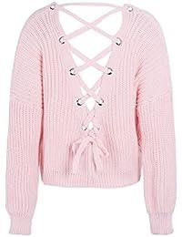 Simplee Apparel Damen Sweater Reizvoll V-Ausschnitt Rückenfrei Lace up  Oversize Strickpullover Oberteil 2ca57fb669