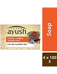 Lever Ayush Natural Fairness Saffron Soap, 100g (Pack of 4)