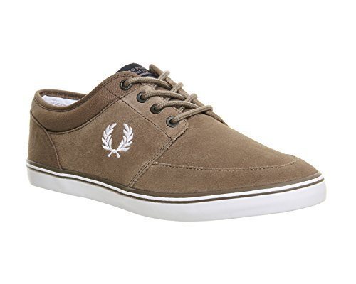 Fred Perry Stratford Suede Homme Baskets Mode Noir Driftwood White