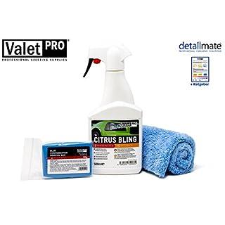 detailmate Set zur professionellen Lackreinigung aus ValetPro Reinigungsknete blau, hart 100g + Valet Pro Gleitmittel Citrus Bling Mikrofasertuch Ratgeber zur Nutzung