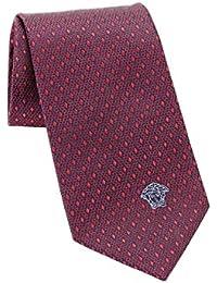 Versace Men's Geometrical Small Diamond Patterned Silk Necktie