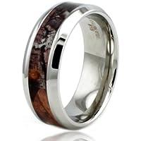 8 millimetri in acciaio inox Camo Legna Design dell'intarsio dell'anello di alta polacco w / bordo smussato