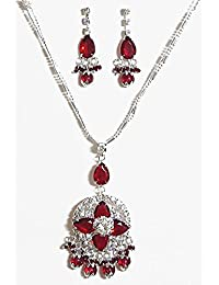 DollsofIndia Dark Red Stone Studded Pendant With Chain And Earrings - Stone, Bead And Metal (AK15-mod) - Red