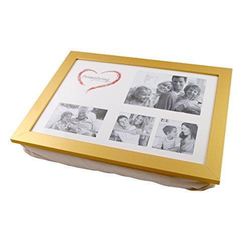 PrimoLiving Knietablett mit Kissen und Fotorahmen P-108 gold (Gold Frühstück Kissen)